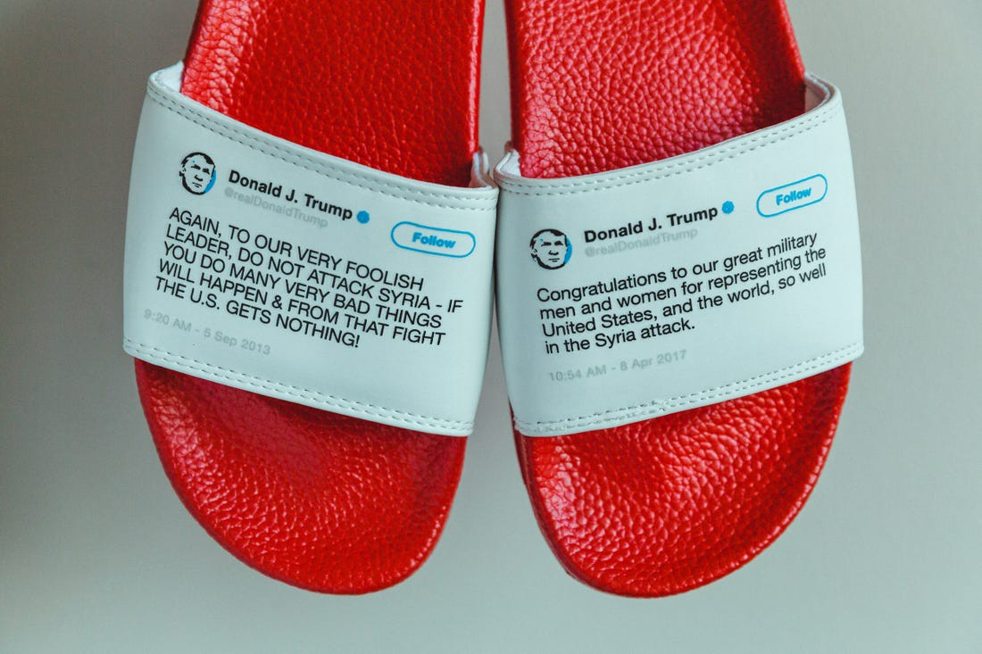 Red flip-flops with Trump tweets on them, where Trump contradicts himself about sending Troops to fight overseas.