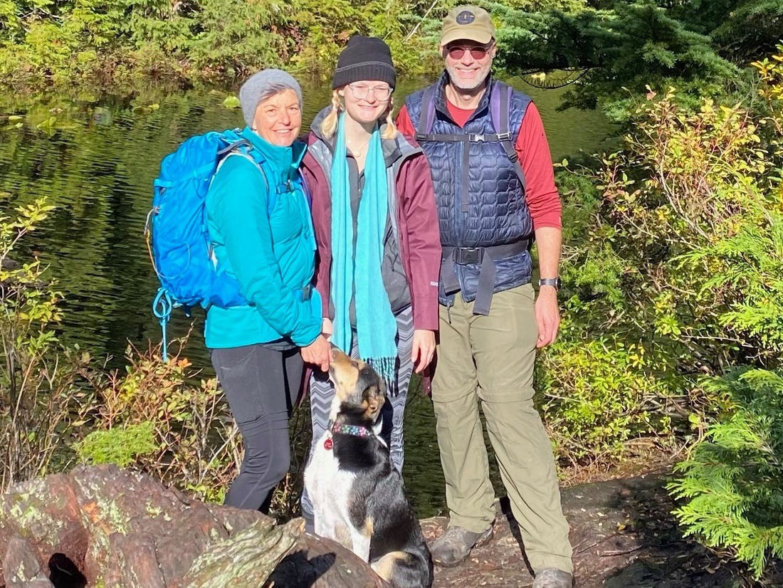 Alice Engelmore pictured on the left with her daughter Jaye Mindus, husband Shawn Mindus, and the family dog.