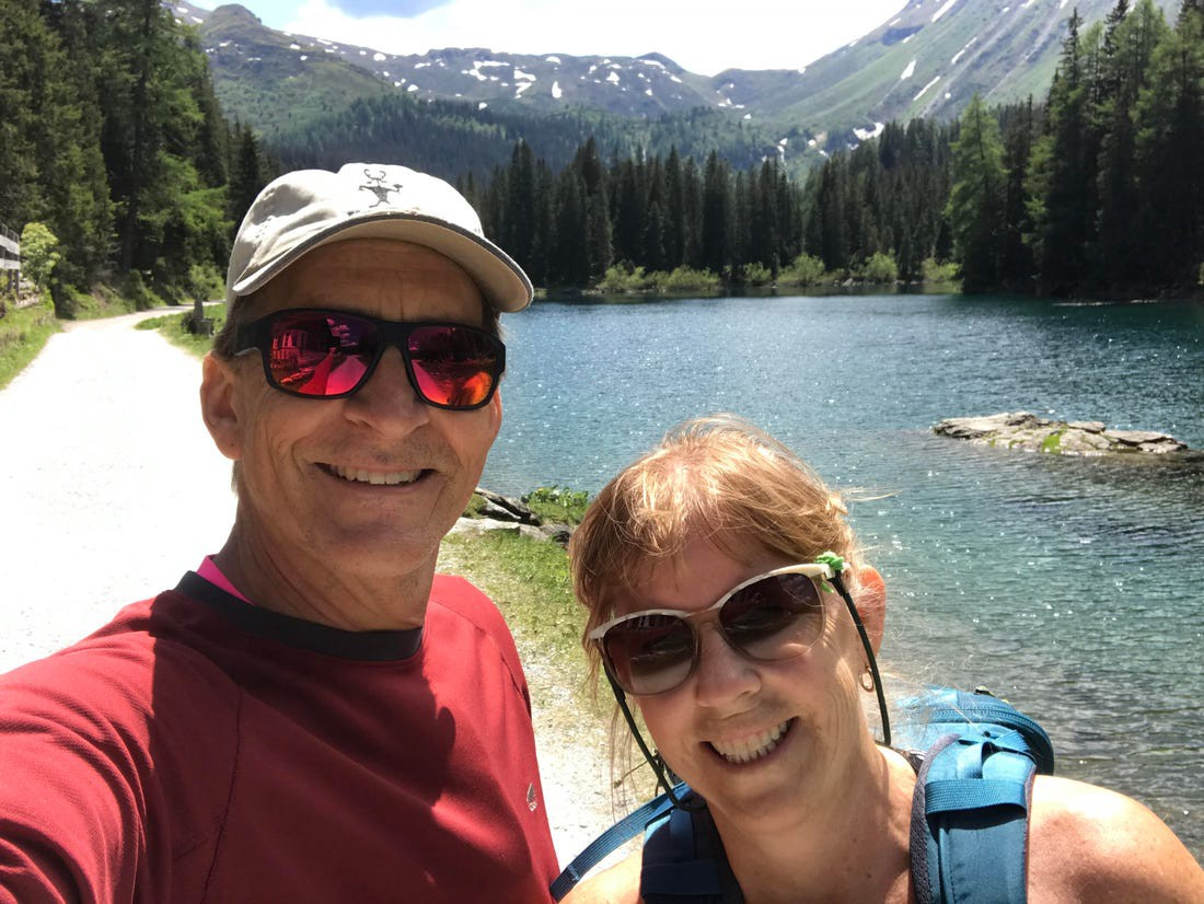 Patricia Baker and her husband, Paul, hiking in Austria in June 2020.