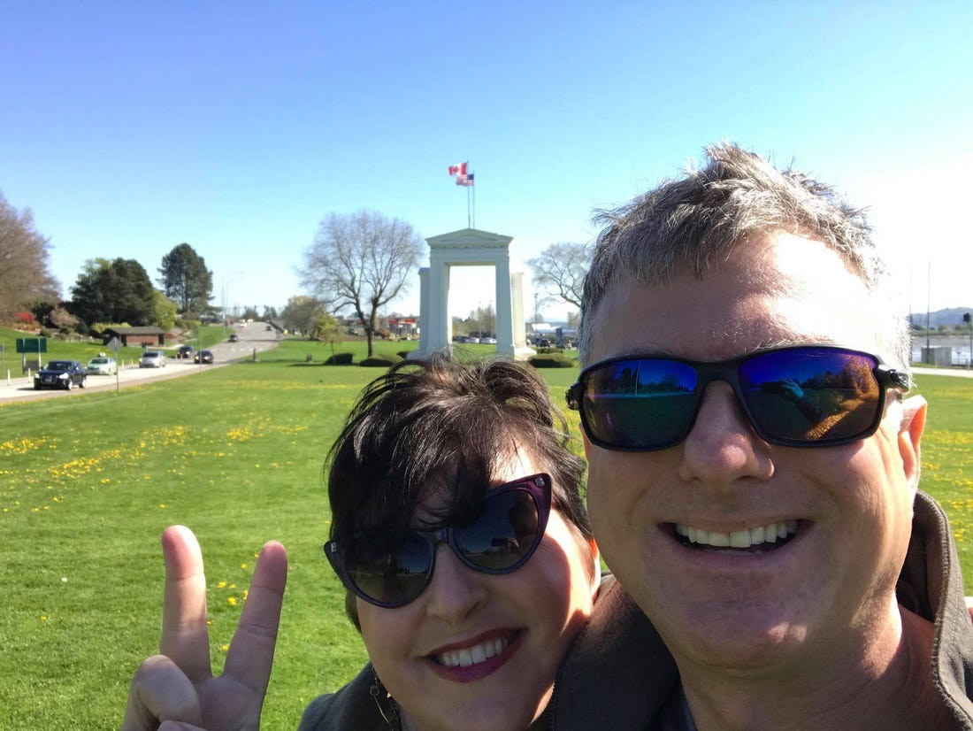 George Feil and his wife Liza are seen at the Peace Arch border crossing a few weeks after moving to Canada in 2017.