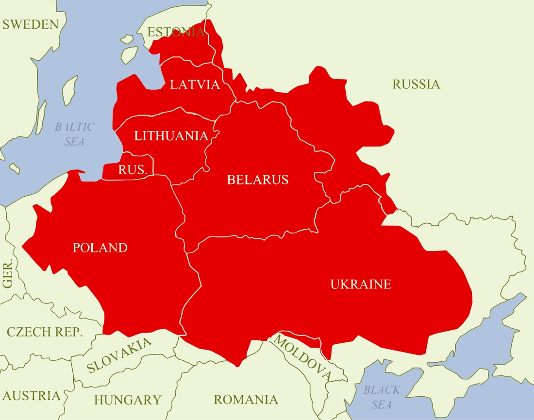 A map of the Polish-Lithuanian Commonwealth transposed onto current borders.