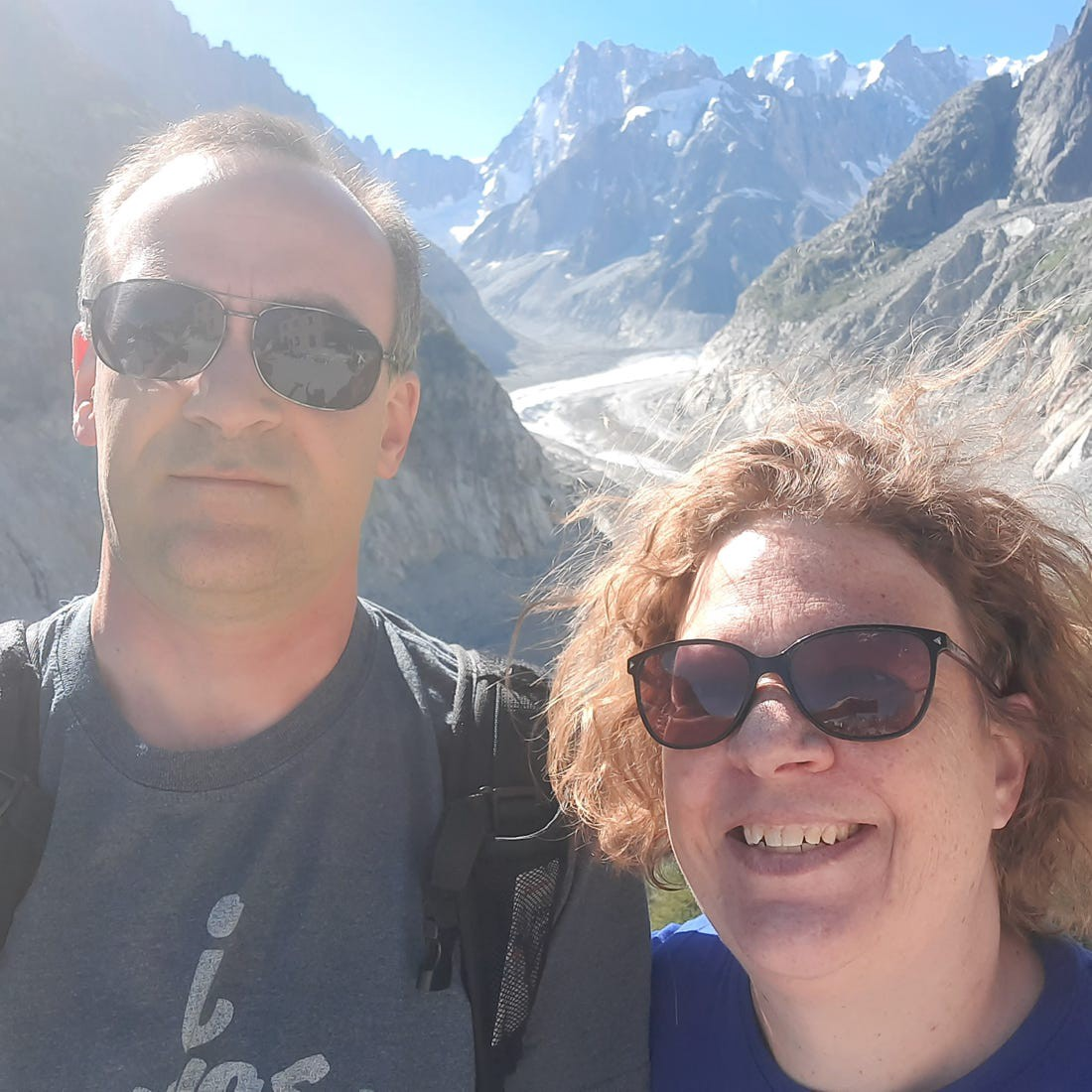 Claudia Clark and her husband are seen in Chamonix, France, in July 2020. The Clarks currently live in Germany.