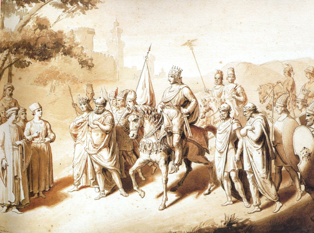 An artist's rendition of Tigranes the Great amongst his vassals