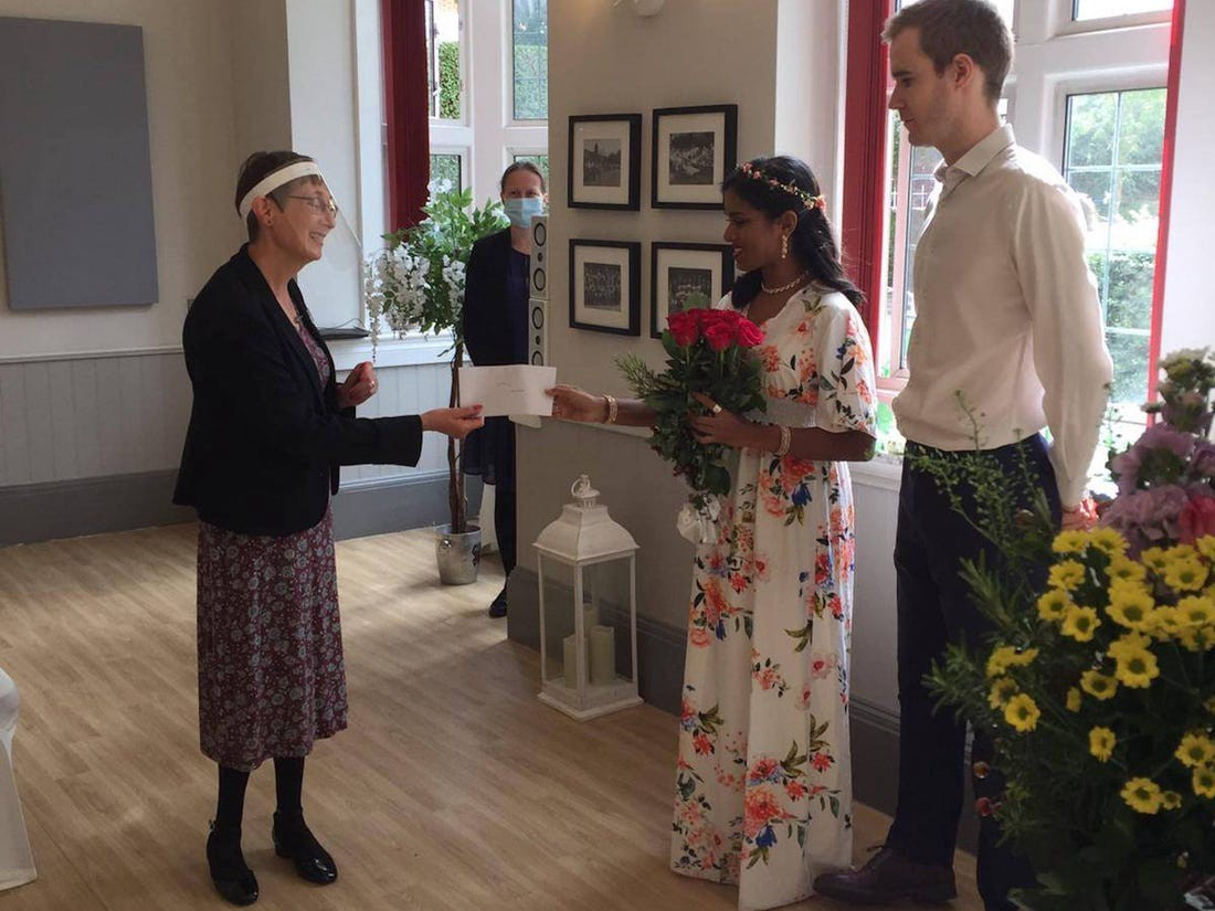 Christine and her British partner pictured at their civil partnership ceremony in August 2020.