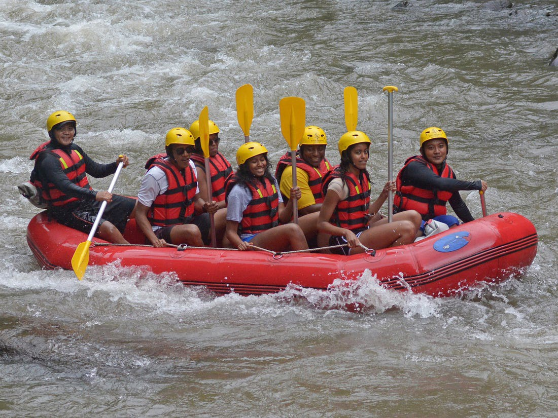 The Obama family during a rafting trip.