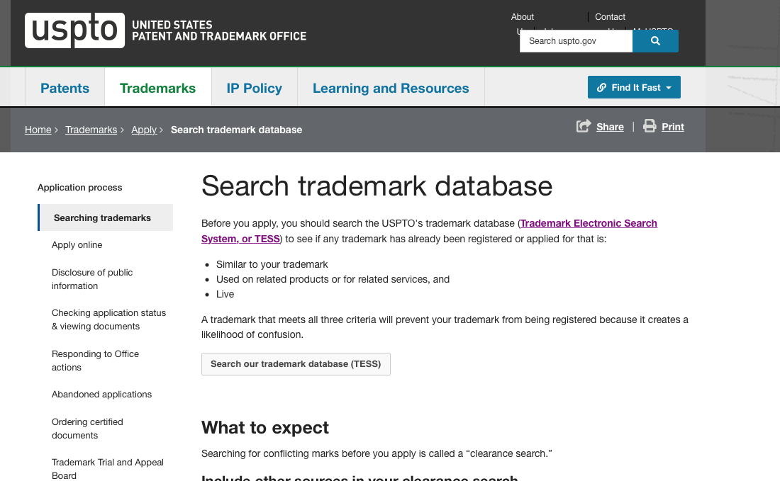 The United States Patent and Trademark Office's Trademark Search webpage.