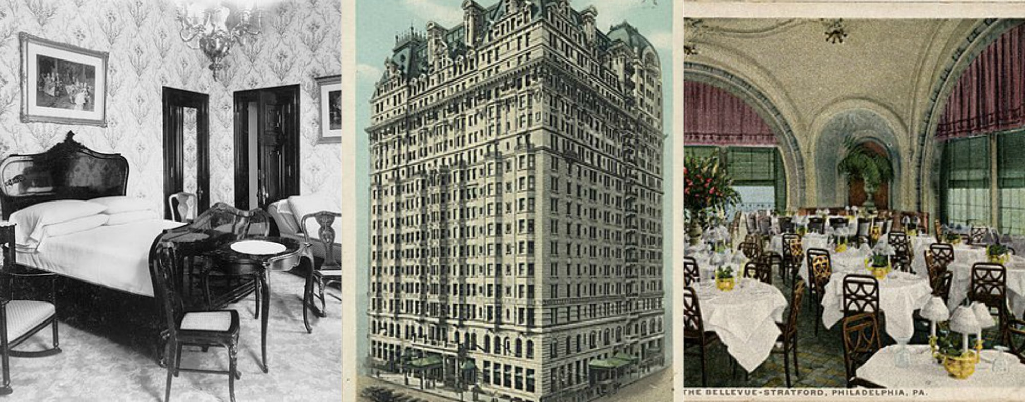 Photos of Bellevue-Stratford Hotel [Public Domain] l-r: Bedroom photo by William H. Wrau (1905); Postcard photo; South Garden