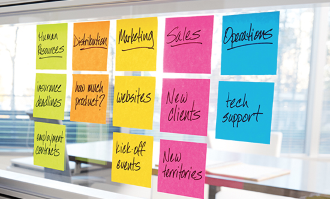 Five columns of post-its, each having it's own colour. Categories are HR, distribution, Marketing, Sales, Operations