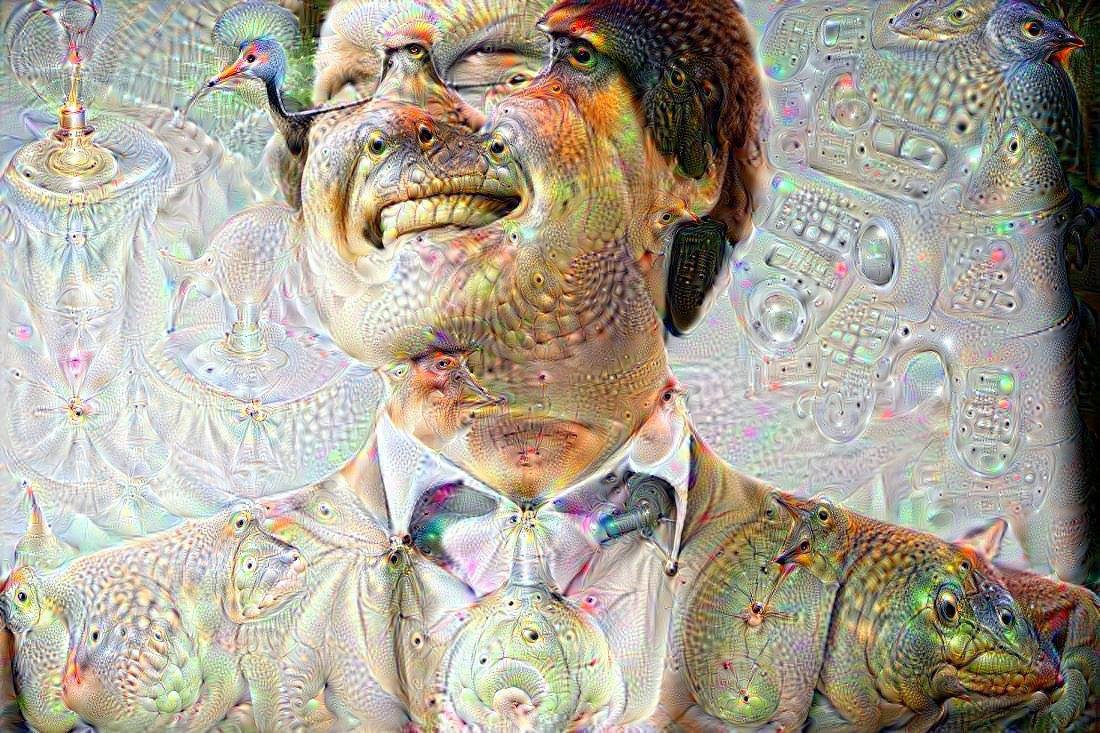 Benjamin wearing a light suit — the image has been obfuscated by the Deep Dreams algorithm so that images of animals emerge.