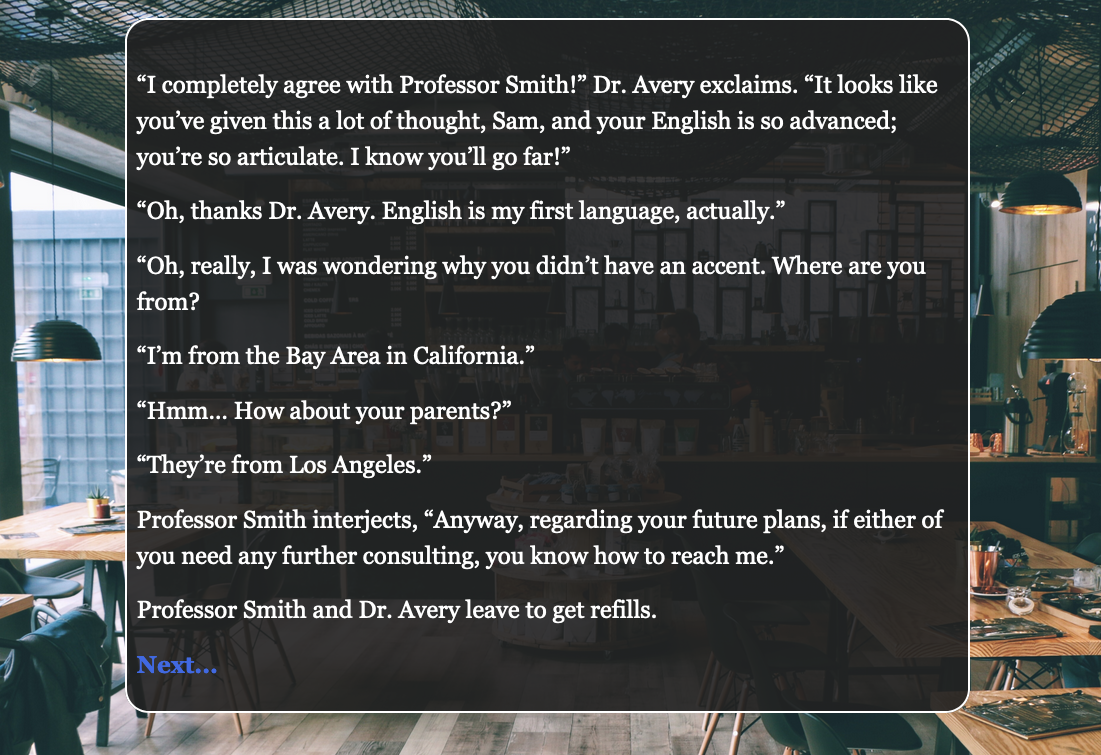 "Screenshot from the fiction, Dr. Avery asks, ""Where are you from? Really from?"""