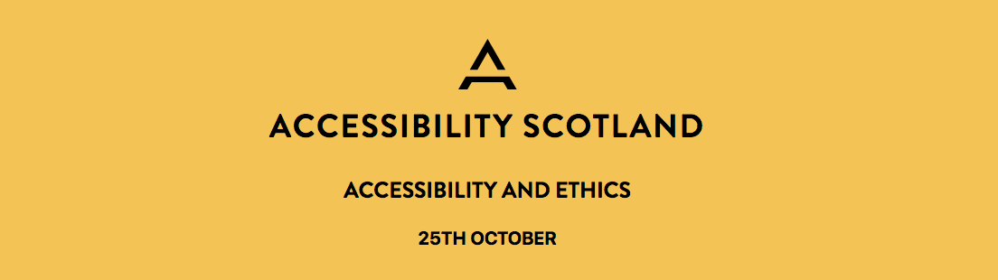 Conference website banner stating: Accessibility and Ethics — 25 October