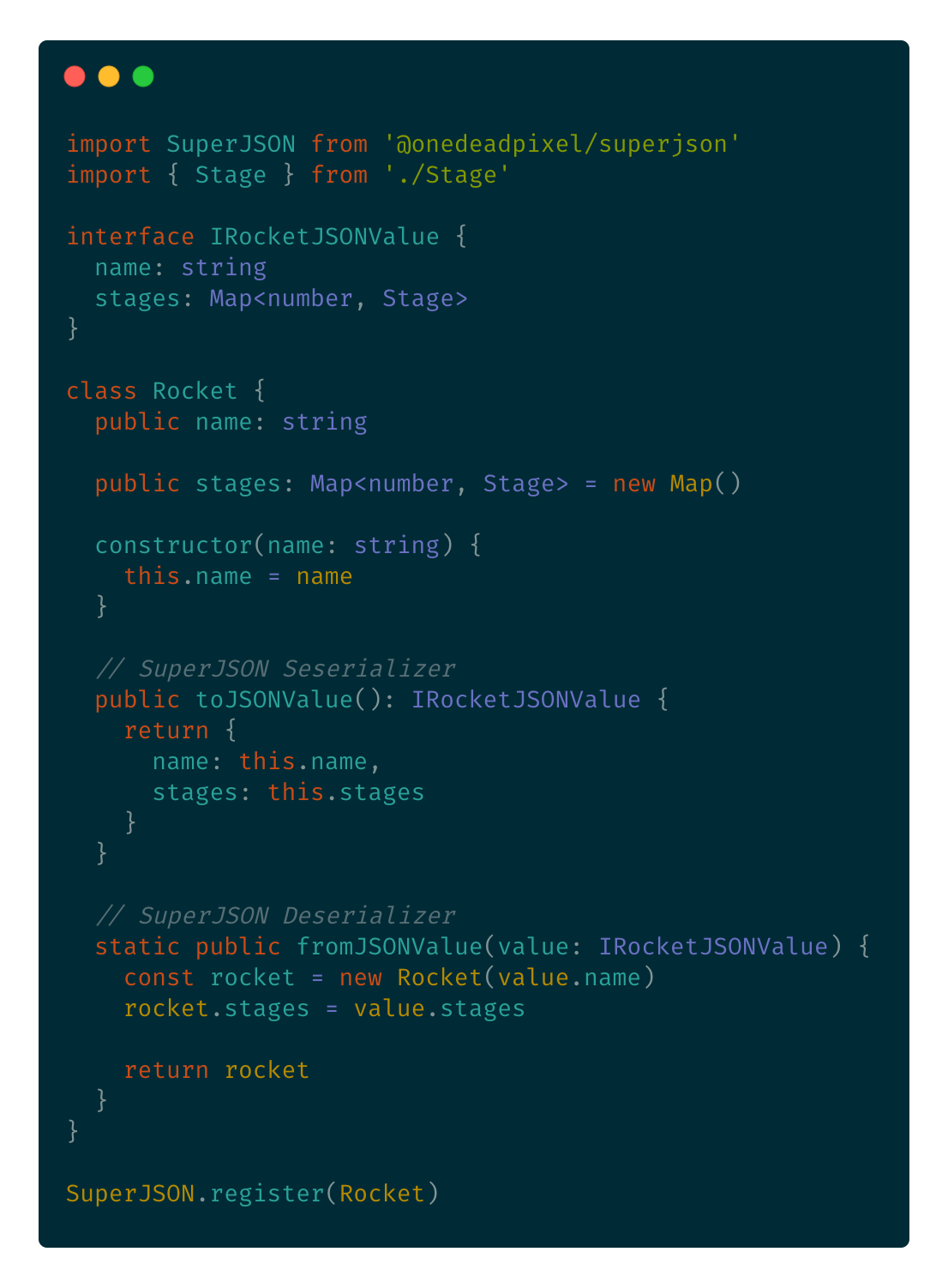 Code example showing how to register a custom class.