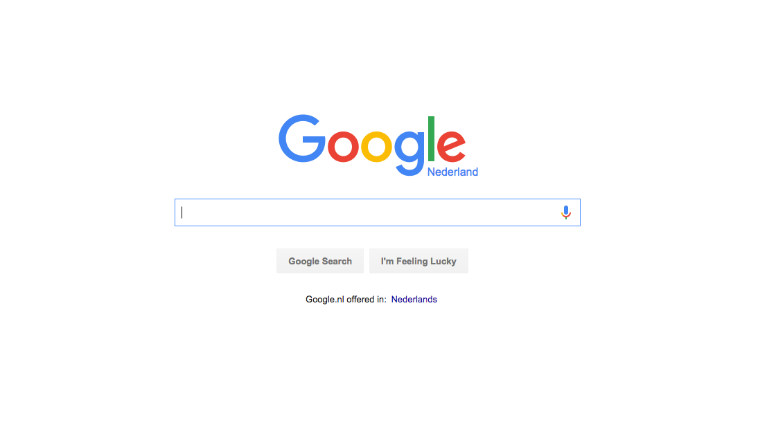 A white page with the Google logo, search bar, and Search button centered on the page.