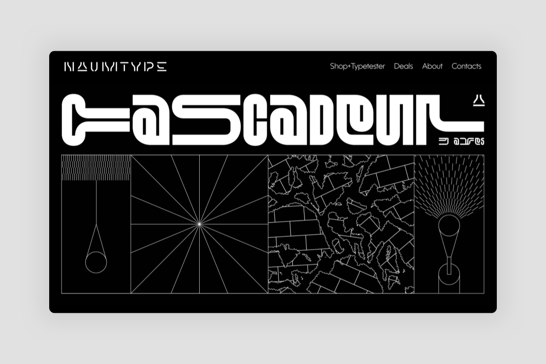 Cascadeur experimental typeface by Peter Bushuev for Naum Type Foundry