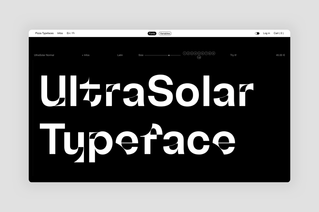 UltraSolar Normal experimental typeface by Adrien Midzic for Pizza Typefaces