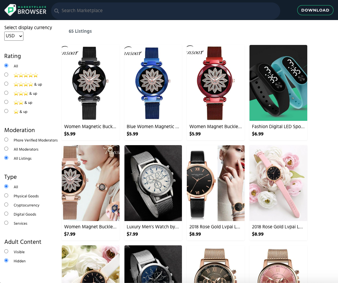 Phore Marketplace Browser home page.