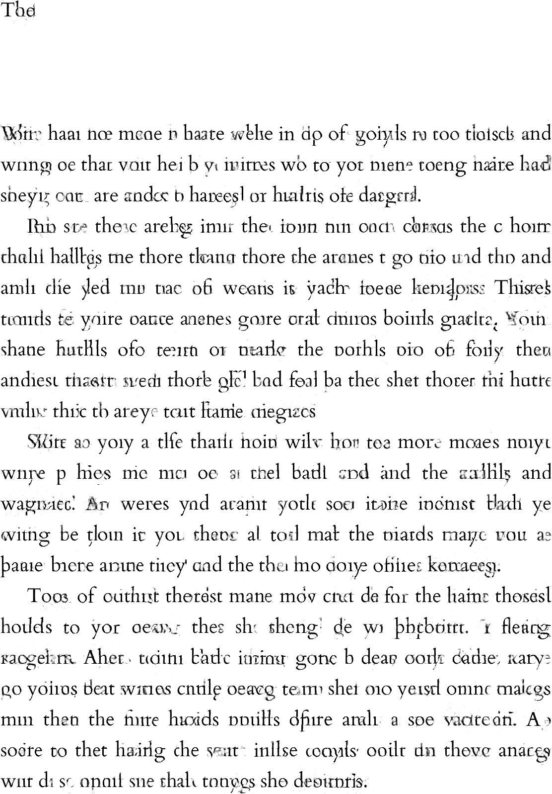 Image of page 4 from Allison Parish's novel. The text appears to be paragraphs, but the letters are unrecognizable.