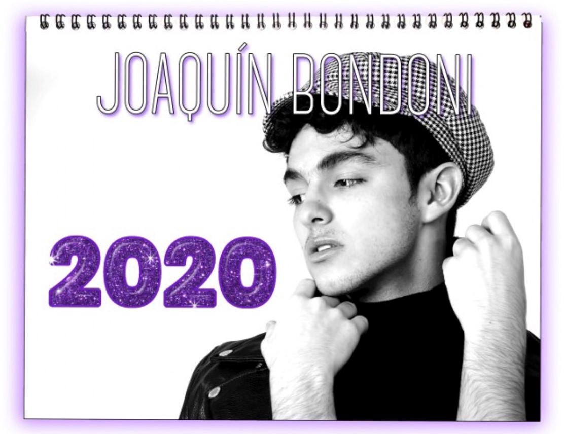 """Joaquin Bondoni's Calendar cover featuring him in a turtleneck and a checkered cap, looking at the """"2020"""" in purple glitter"""