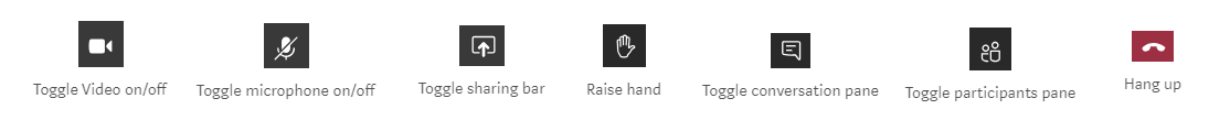 Microsoft Teams meeting buttons
