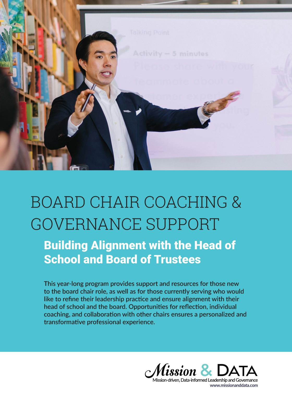 Brochure about Mission & Data's year-long program for new board chairs.