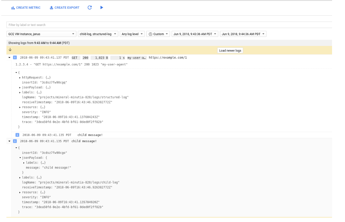 Combining correlated Log Lines in Google Stackdriver
