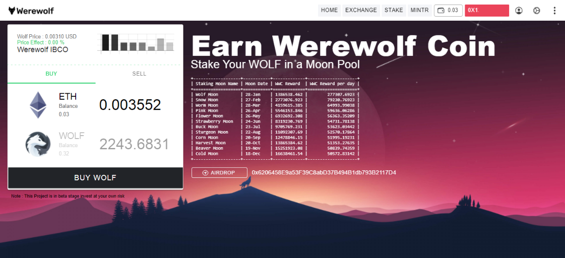 Enter the amount of Ethereum to get WOLF