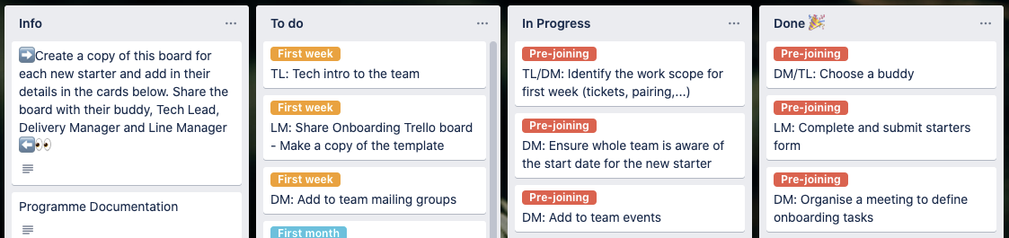 """Four columns in Trello board: Info, To do, In progress, Done. Card in Info: """"Create a copy of the board for each new starter"""". Cards in To do: Intro to team, add to team mailing lists [first week]. Cards in In progress: Identify work to start on, ensure whole team is aware of new start date [pre-joining]. Cards in Done: Choose a buddy, complete new starters form [pre-joining]."""
