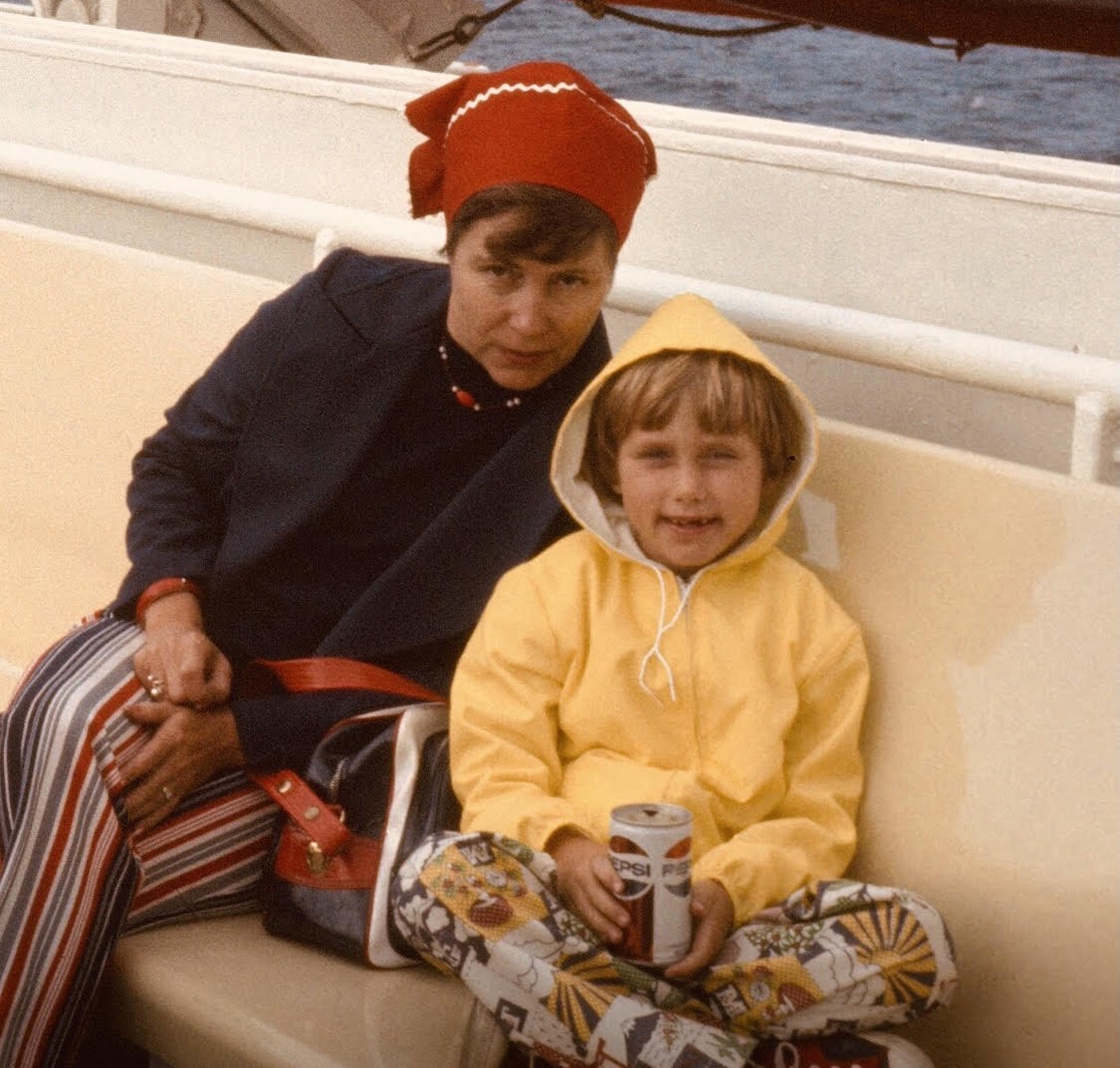 on a boat with my mom