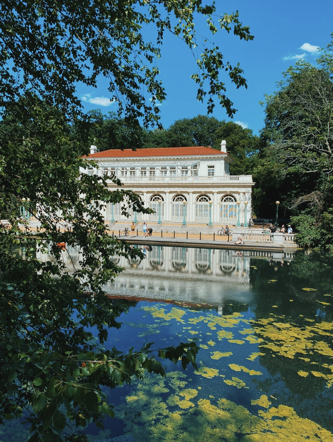 The boathouse and lake at Prospect Park.