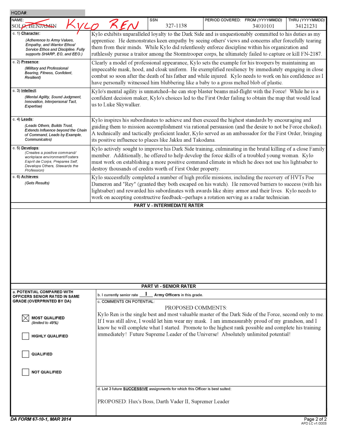 on officer evaluation support form example for 42b