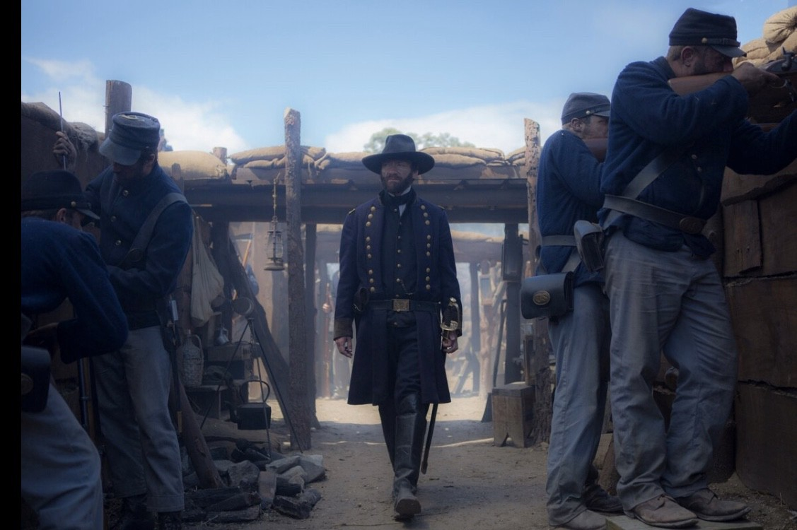 A Grant miniseries screenshot showing General Grant supervising his soldiers during the Civil War.