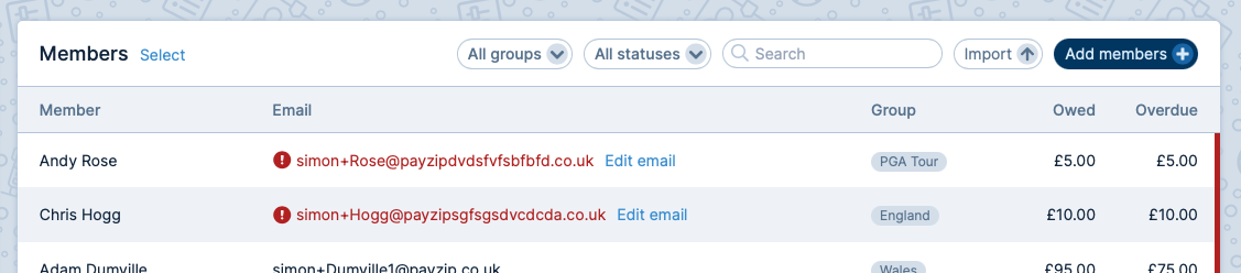 A screenshot of the Members page. Members with invalid email addresses are moved to the top of the table.