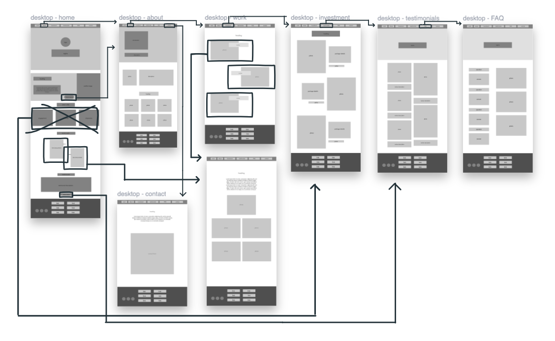 wireframe for desktop/tablet view