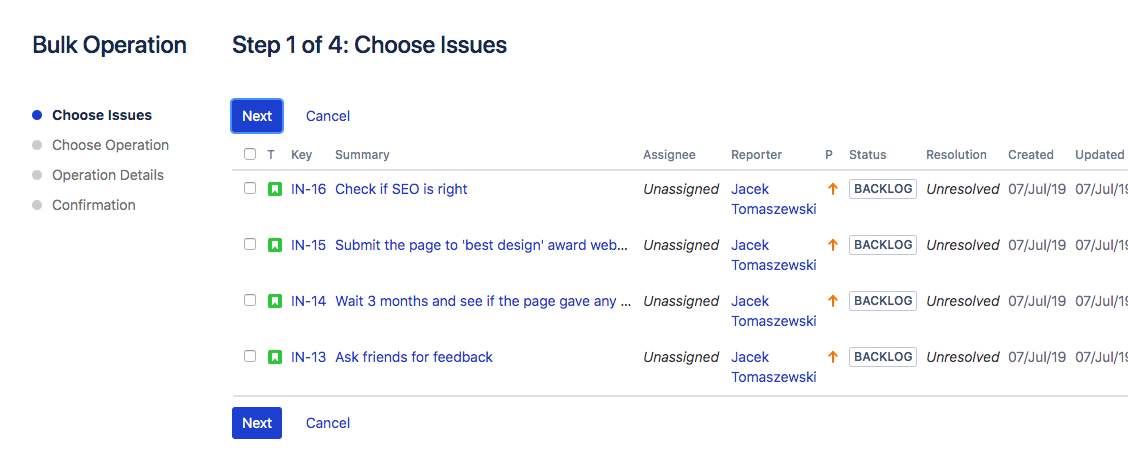 Another list of issues, this time finally with checkboxes.