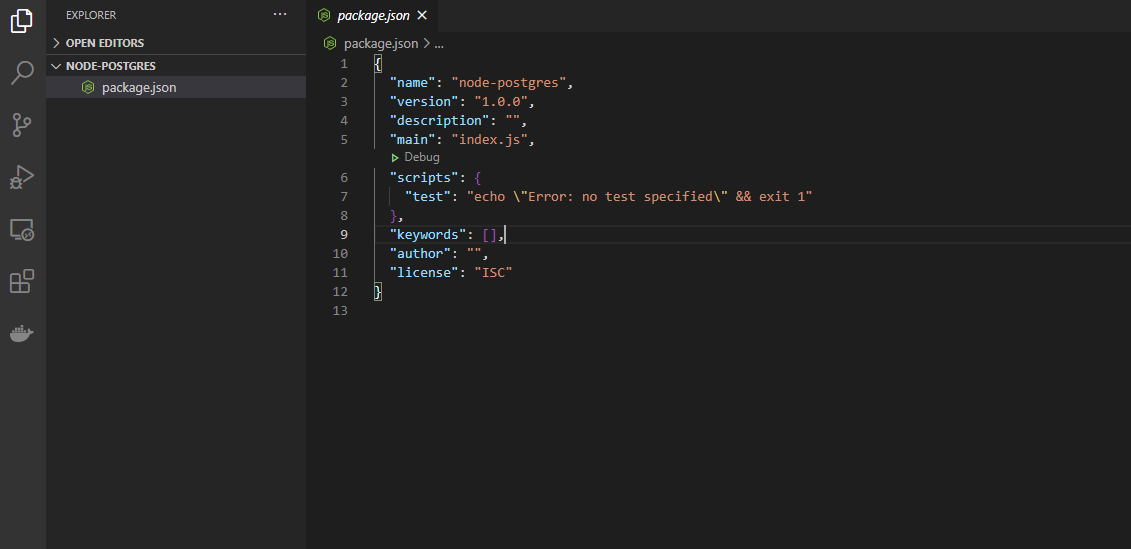 example of package.json