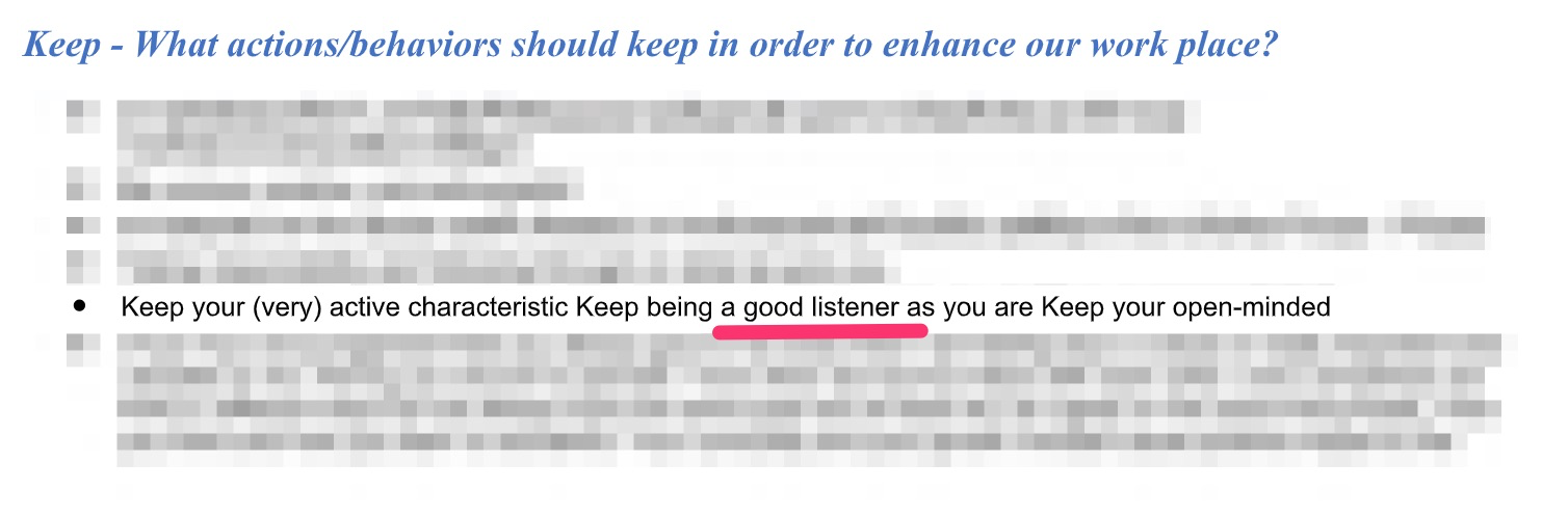 Being a good listener comment from the team
