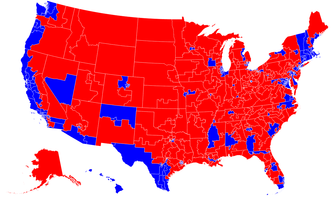 """Map Of Us Counties By Political Party Republicans Are """"Clustered"""" By County, Democrats Are """"Clustered"""