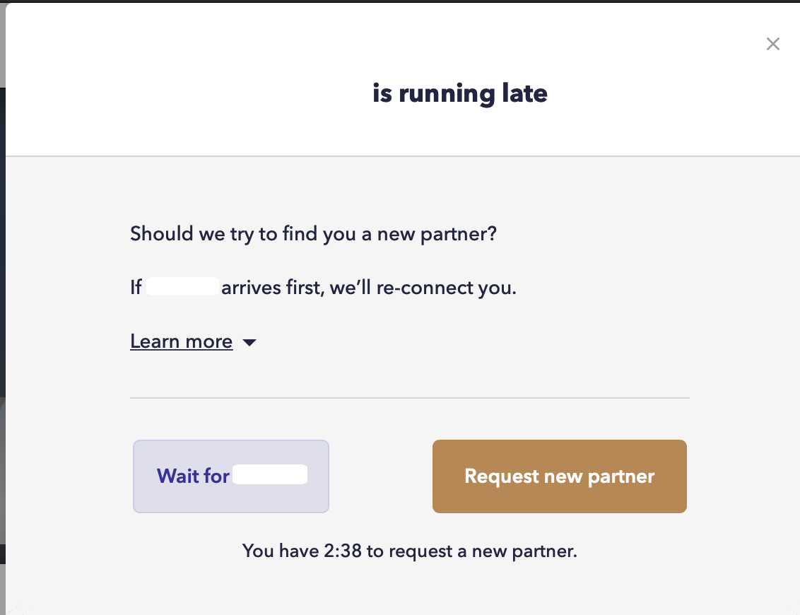 Focusmate popup that appears at 48 minute mark. Choose to wait for partner, or request to be rematched