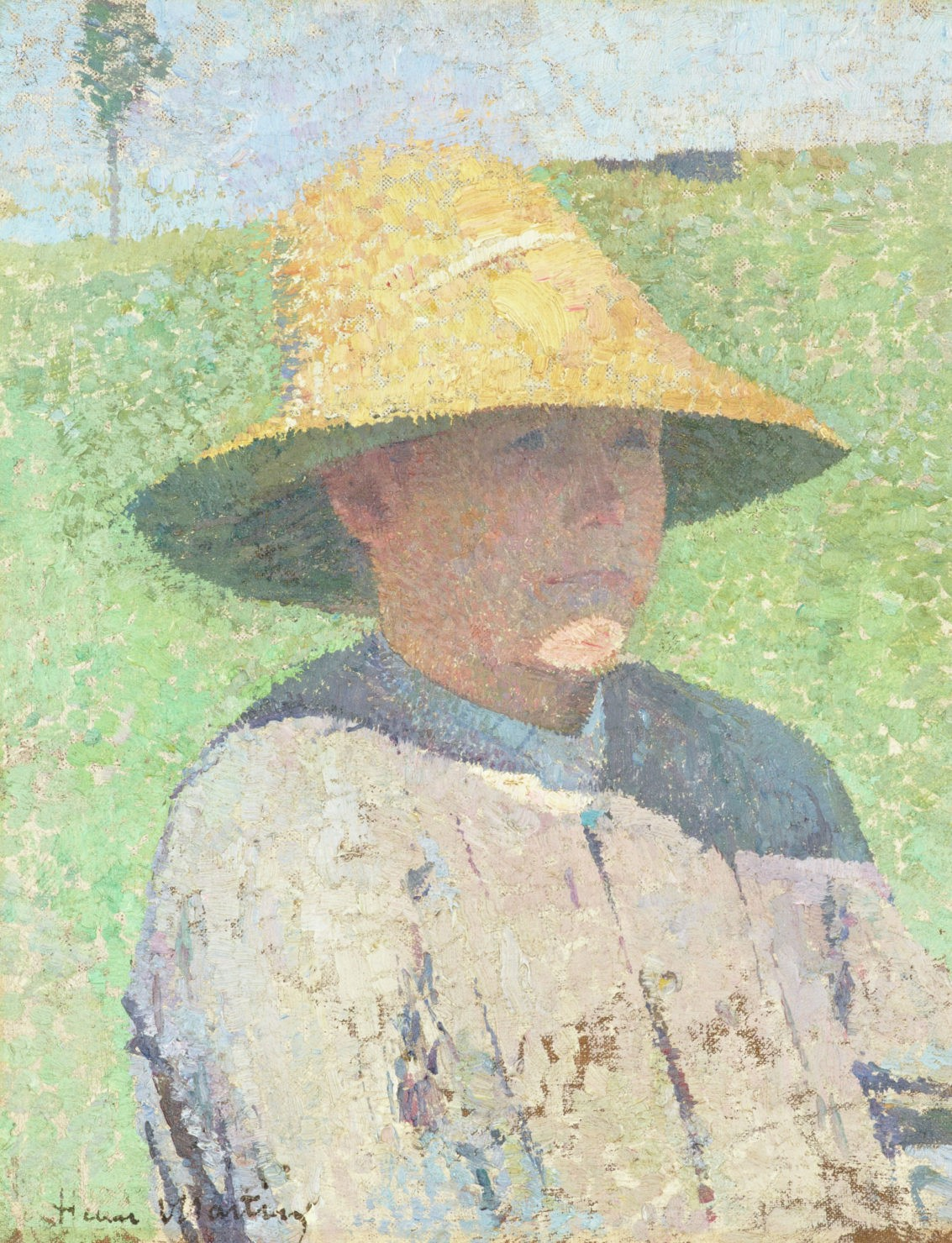 Pointilist painting, in yellows, greens, and blues, depicting a boy in a straw hat that casts a distinct shadow on his left shoulder.