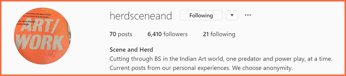 "Instagram header of @herdsceneand with an orange logo saying ""Art Work"", 70 posts, 6410 Followers, and 21 Following."