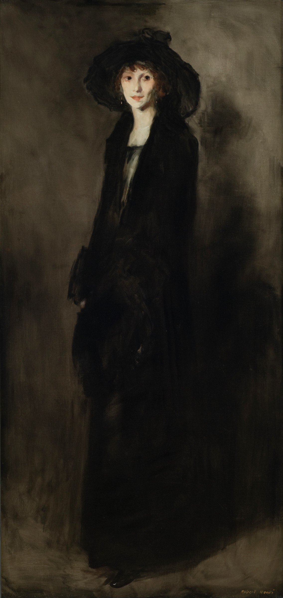 Vertical painted portrait of a slender woman in all black, rendered with creamy brushstrokes.