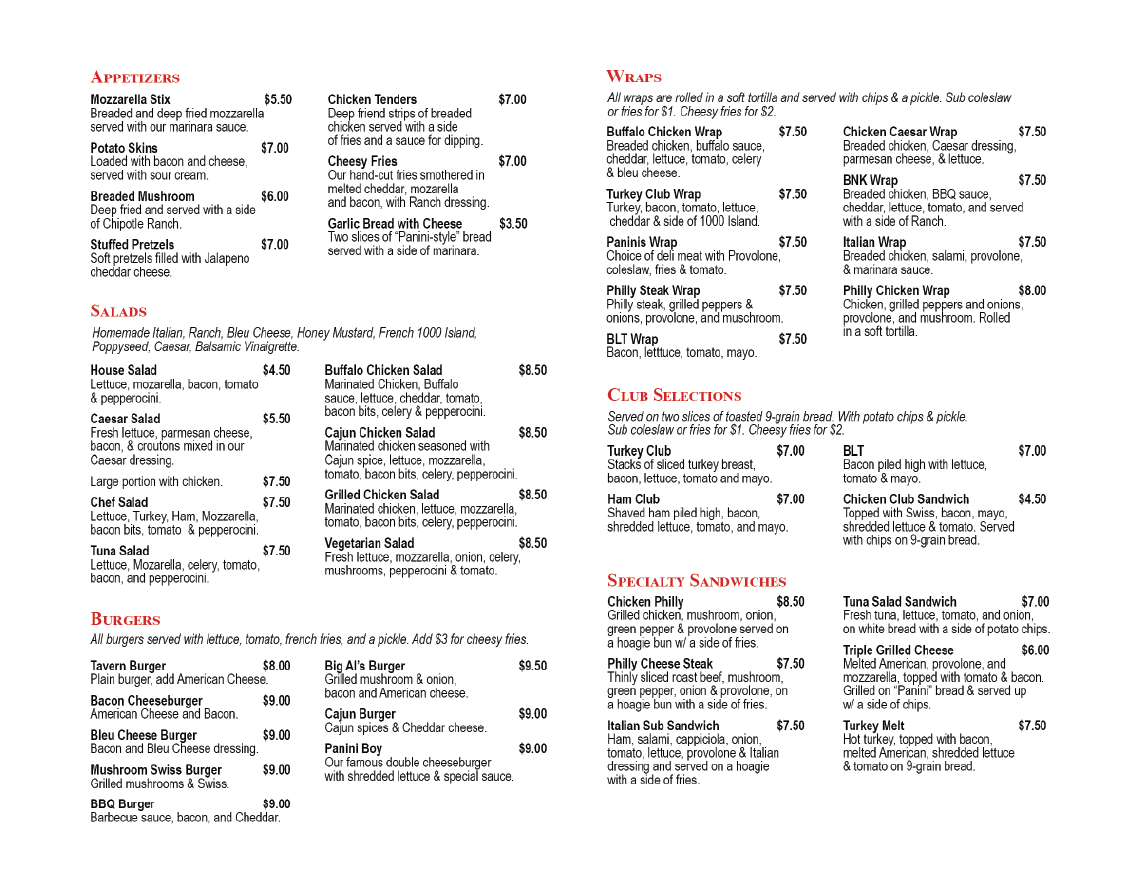 Final menu, with recommended layout adjustments