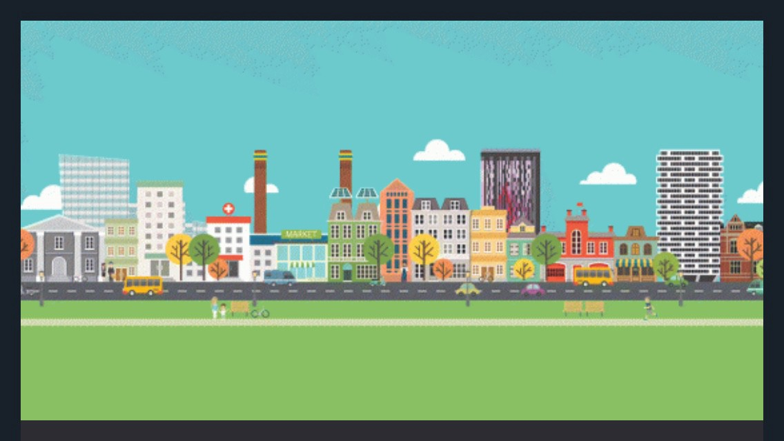 A colourful pixel image of the Croydon skyline as it appears on the SEND Local Offer website