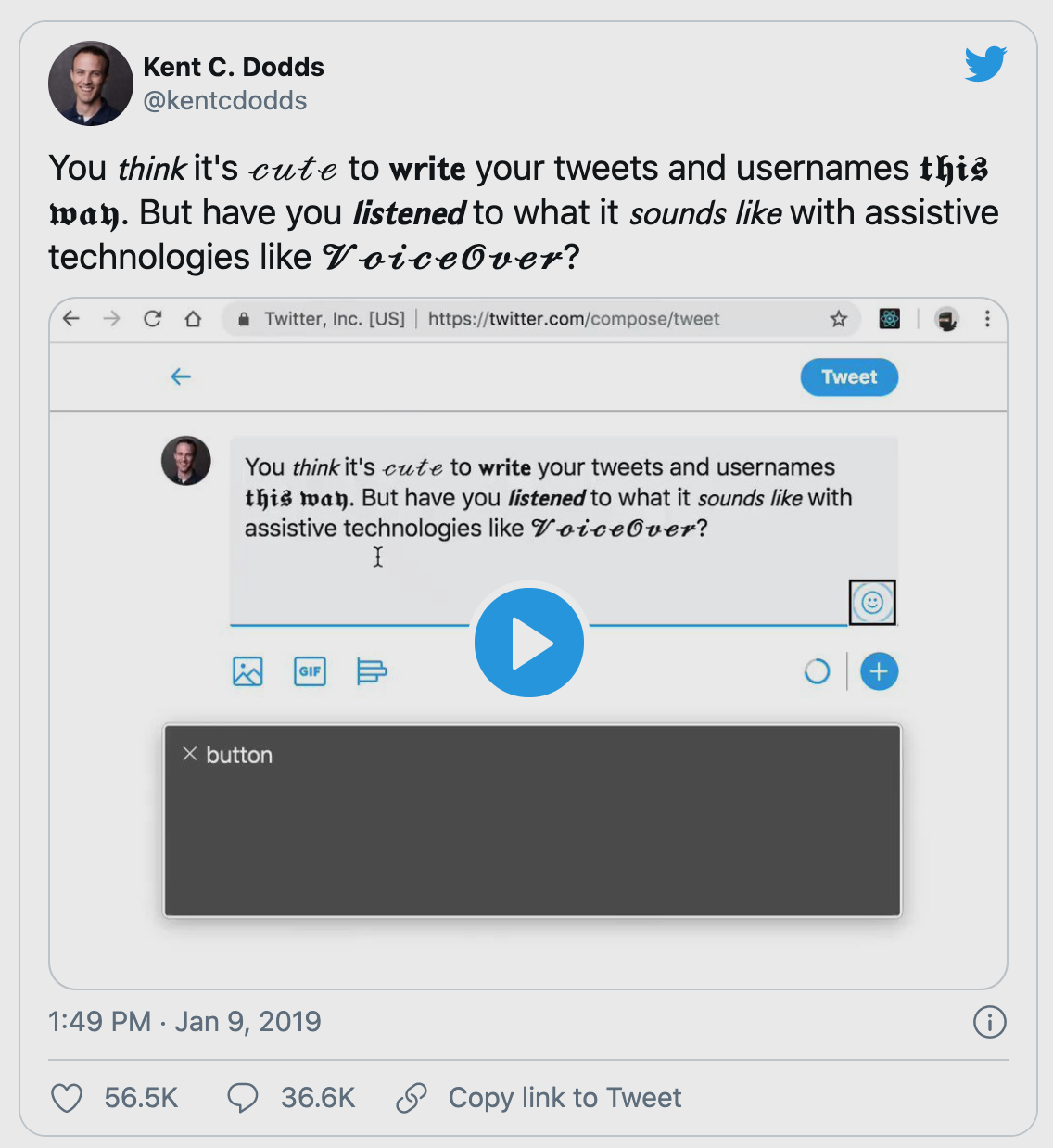 Tweet from Kent C. Dodds including a video showing how assistive technologies read Instagram fonts out loud.