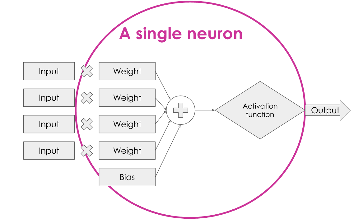The diagram of the internal structure of the neuron, with a circle highlighting that the weights, bias and activation function are all inside a single neuron