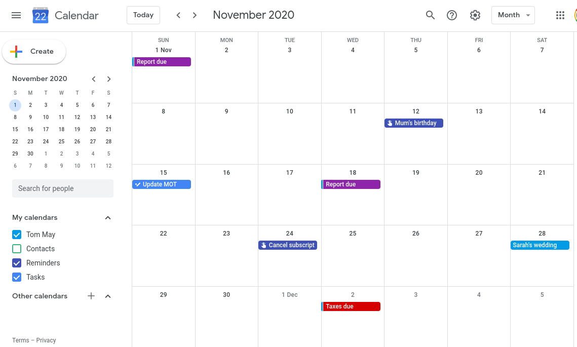 Google Calendar - desktop view