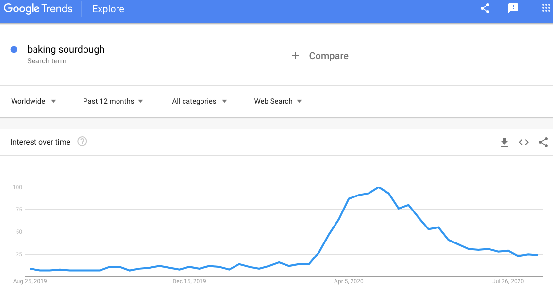 Google trends screen shot showing the increase of searches for sourdough baking during the COVID-19 pandemic