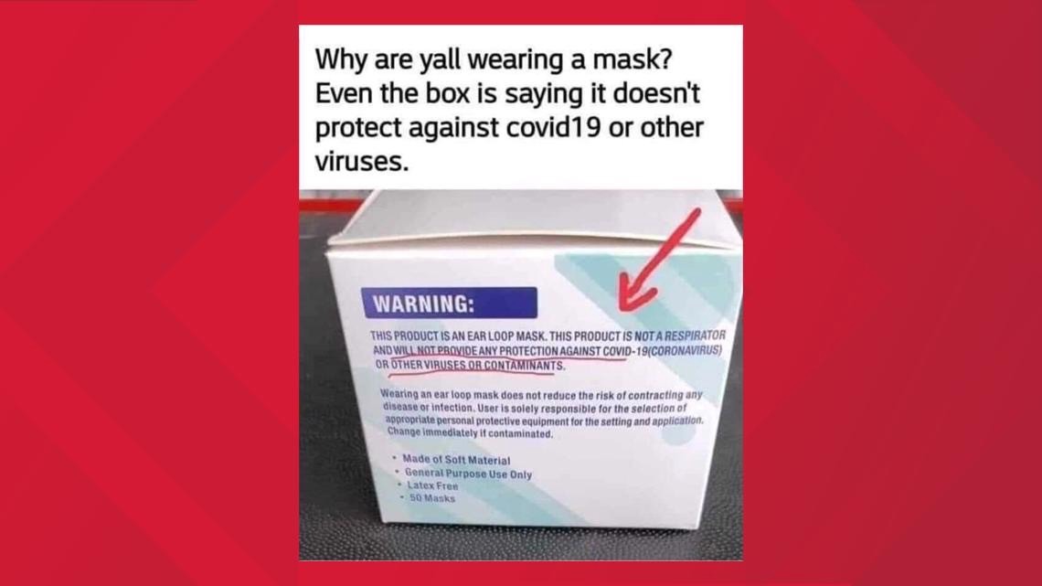 "Side of ear-loop mask box reads ""THIS PRODUCT IS NOT A RESPIRATOR AND WILL NOT PROVIDE ANY PROTECTION AGAINST COVID-19"""