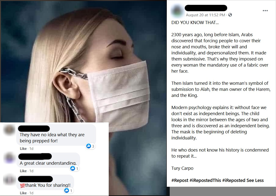 A very racist copypasta 'explaining' how Islam conditions women to be submissive by making them wear face masks.