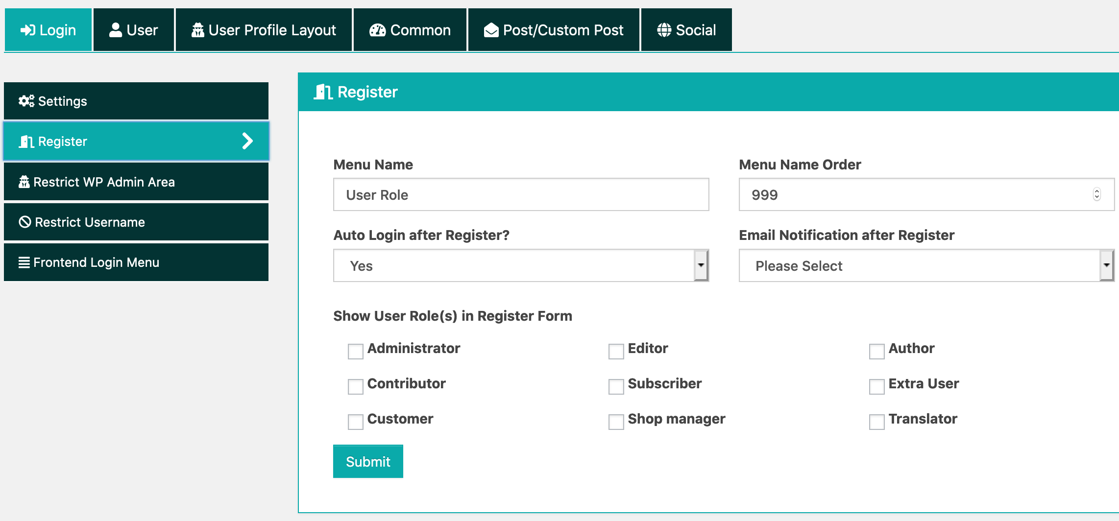 Frontend Dashboard Custom Register Page
